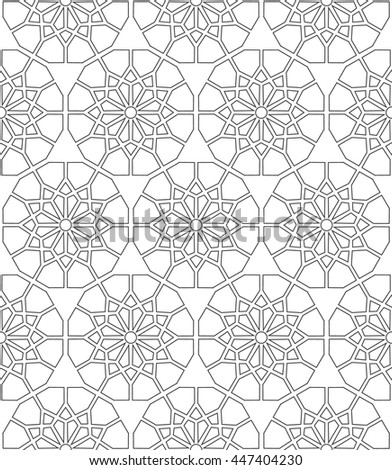 Arabic pattern seamless background. Geometric ornament backdrop. black on white. vector illustration of islamic texture repeat - stock vector