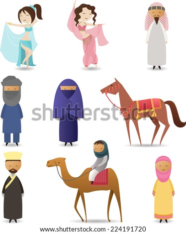 Arabic people traditional clothing set - stock vector