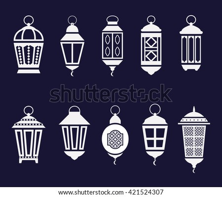 Arabic Ramadan lanterns set. vector icons