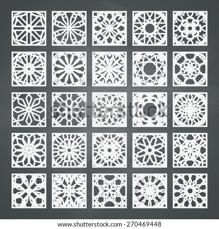 Arabic square ornament set. Vector patterns collection on chalkboard background - stock vector