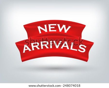 "Arabic Text ""New Arrivals"" on a label - stock vector"