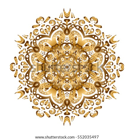 Arabic Vintage decorative ornament. Abstract Tribal, ethnic texture. East, Islam, Thai, Indian, ottoman motifs. Orient, symmetry lace, meditation symbol. Vector Mandala gold on white background.
