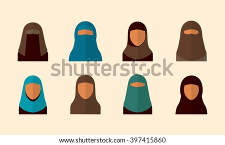 Arabic woman set, vector avatars - stock vector
