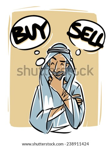 Arabic young man thinking buy or sell - stock vector