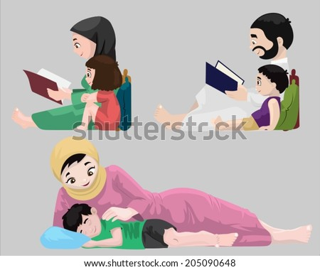 Arabs- Bedtime Stories-vector - stock vector