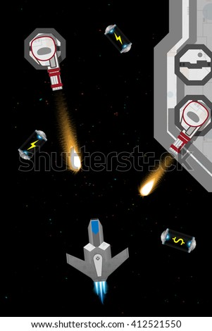 Arcade computer game screen concept. Spaceship in action.  - stock vector