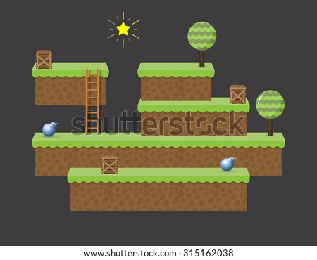 Arcade computer game world - isometric level - stock vector