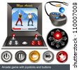 Arcade game with joysticks and buttons - stock