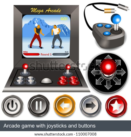 Arcade game with joysticks and buttons - stock vector