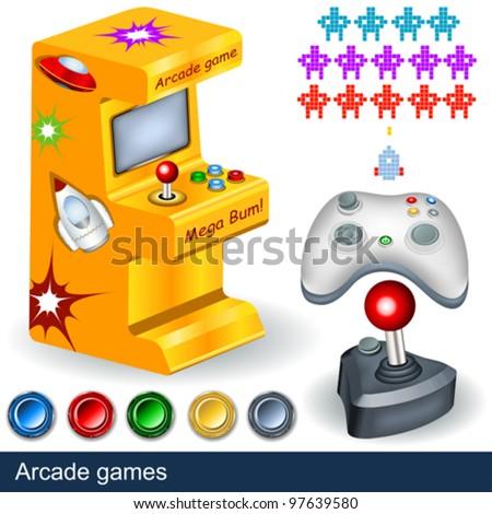 Arcade games illustration collection. - stock vector