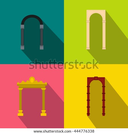 Arch banner set in flat style for any design - stock vector