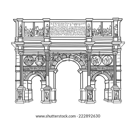Arch isolated. Rome famous building Constantin's arch. Vector sketch. - stock vector