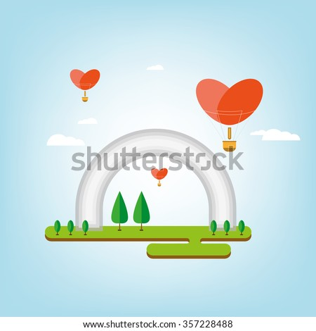 Arch of Friendship of Peoples in the spring in the Ukrainian capital Kiev - stock vector