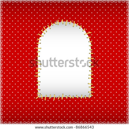 Arch shaped patch on the polka dot texture - stock vector