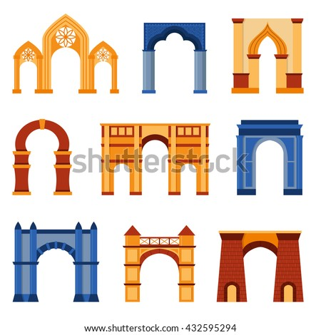 Arch vector set and architecture ancient frame arch. Column entrance design arch and arch classical construction. History antique culture pillar exterior facade arch. Ornament gateway monument. - stock vector