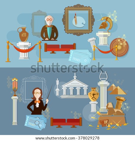 Archaeological museum science exposition guide tells antiquity ancient civilizations flat banners - stock vector