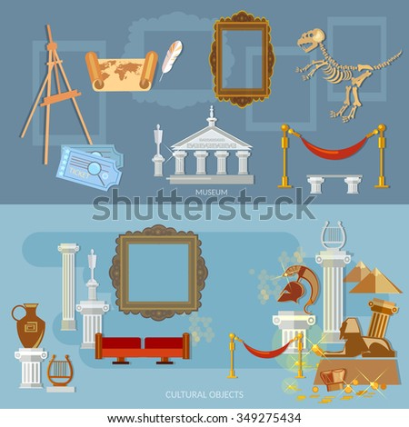 Archeological museum of antiquity and natural science exposition ancient civilizations flat banners - stock vector