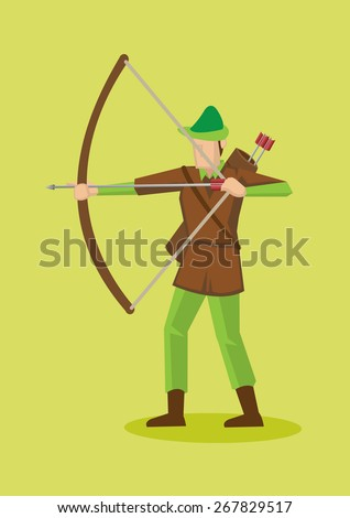 Archer in Robin Hood hat and costume using bow and arrow. Vector cartoon character illustration isolated on plain green background.