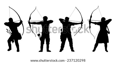 archer silhouettes on the white background - stock vector