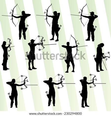 Archer training with bow vector background set - stock vector