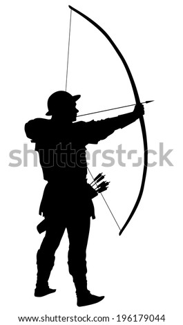 Archer with bow and arrow detailed vector silhouette. EPS 8 - stock vector