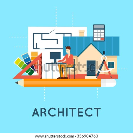 Architect. Architectural project, architectural plan, technical project. Engineering for building houses. Flat design vector illustration.  - stock vector
