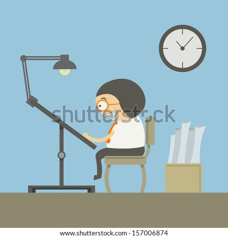 Architect at Workspace - stock vector