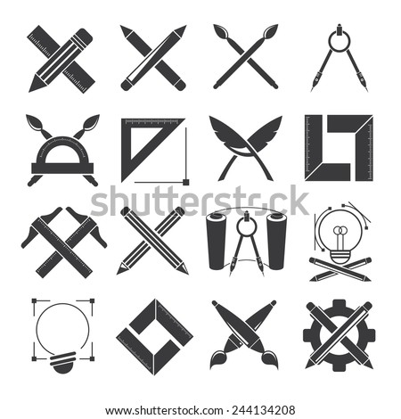 architect design tools, design concept, drawing tools, writing tools - stock vector