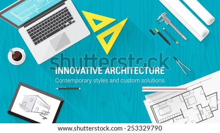 Architect desktop with tools including laptop, tablet and building plan - stock vector