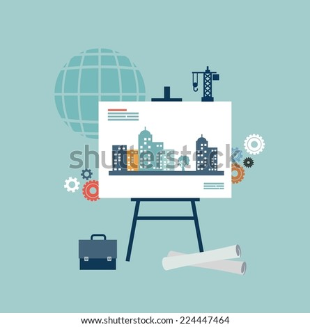 architect drawings illustration - stock vector