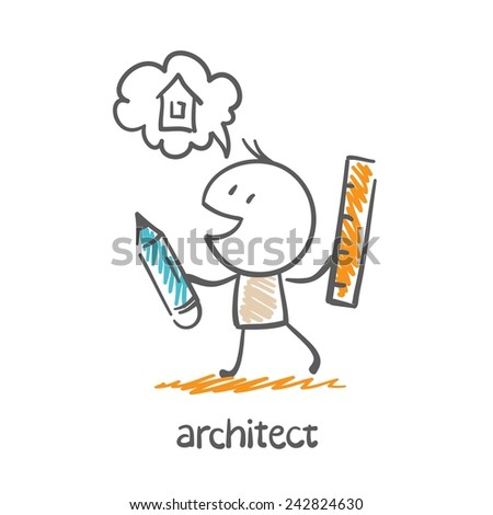 architect holding a pencil and ruler and dreams about the house illustration - stock vector