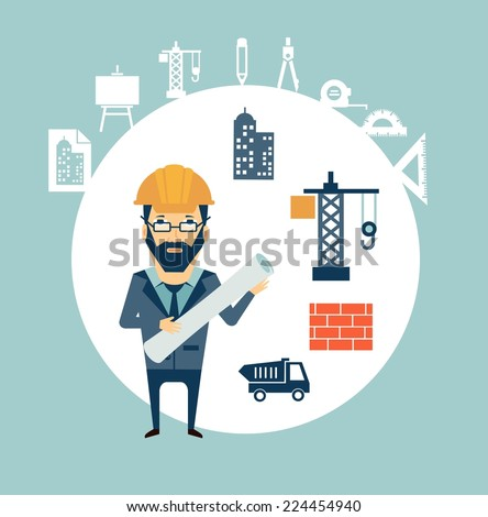 Architect looking for construction illustration - stock vector