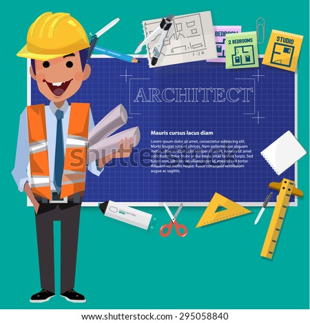 architect man with blueprint paper and tool. presentation - vector illustration - stock vector