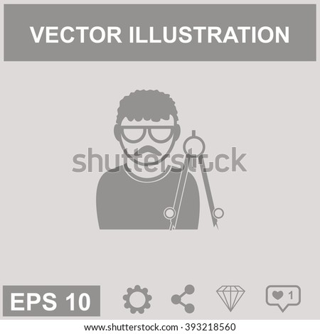 Architect. People at work. Vector icon.