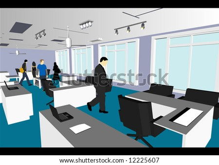Architect's Home / Office in vector format. Every feature of each building including doors and windows can be edited or colored to suit. - stock vector