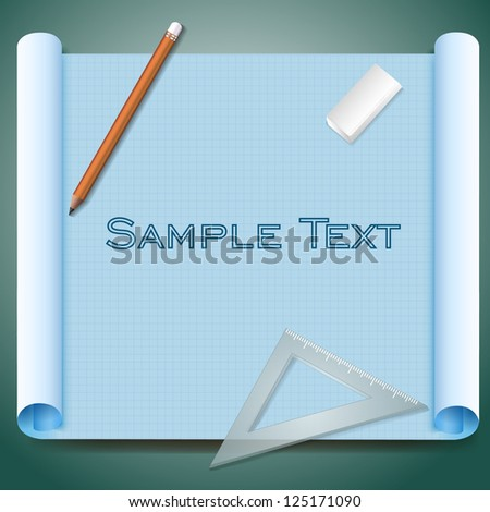 Architect's paper with technical drawing and pencils. Vector Illustration, contains transparencies. - stock vector