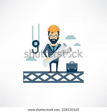 architect stands high on a building site and oversees the construction  - stock vector
