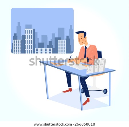 architect working on blueprint with office building background vector illustration