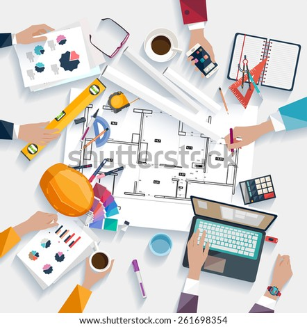 Architects workplace. Flat design. - stock vector
