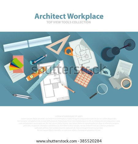 Architects workplace with architectural tools, blueprints, ruler, calculator, divider compass. Construction concept. Engineering studio. Top view flat vector eps 10 - stock vector