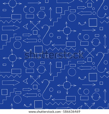 Architectural engineering signs symbols vector hand stock vector architectural and engineering signs and symbols vector hand drawn seamless pattern blueprint malvernweather Images