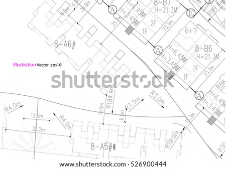 stock vector architectural background architectural plan construction drawing landscape 526900444 engineering drawing stock images, royalty free images & vectors on plumbing job sheet template