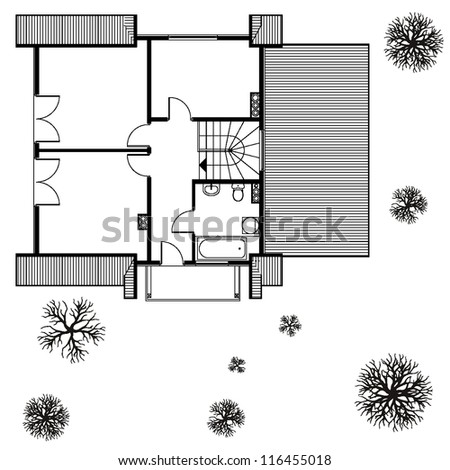 architectural background. blueprint of house - stock vector