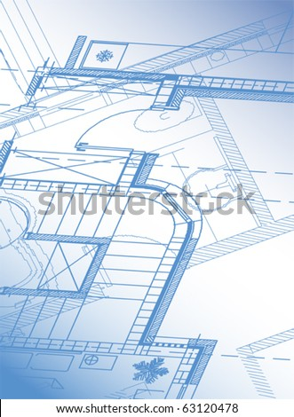 Architectural background cottage. Vector. - stock vector