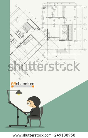 Architectural background on drawing table. Vector - stock vector