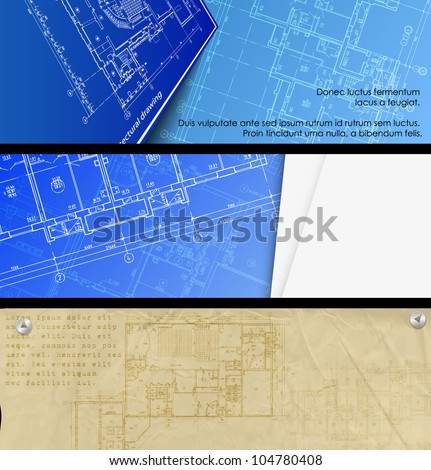 Architectural background. Part of architectural project, architectural plan, technical project, drawing technical letters, architect at work, Architecture planning on paper, construction plan. banners - stock vector