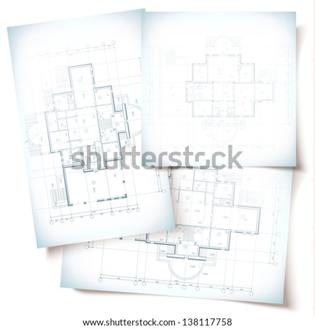 Architectural background. Part of architectural project, architectural plan, technical project, drawing technical letters, architecture planning on paper, construction plan - stock vector