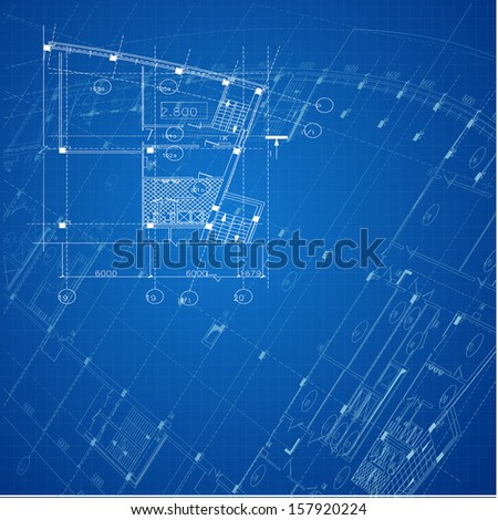 Architectural background. Part of architectural project, architectural plan, technical project, drawing technical letters, design on paper, construction plan