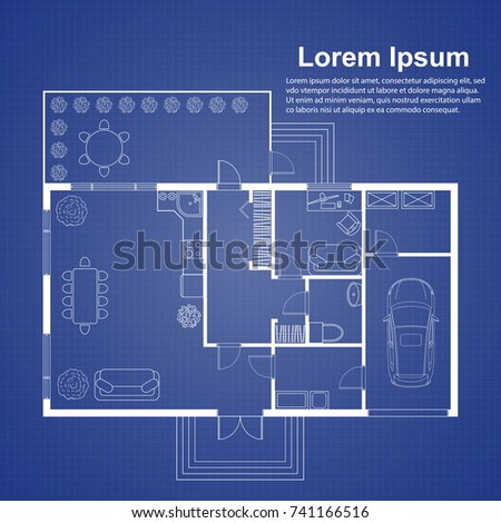 Architectural Background Template On Blue. House Plan On Blueprint  Background With Place For Text.