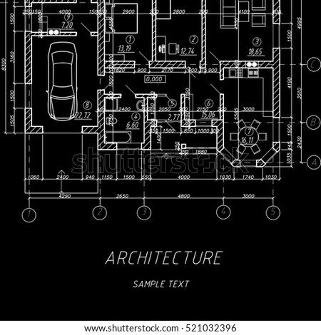 Architectural background vector blueprint detailed floor stock vector blueprint detailed floor plan suburban house malvernweather Images